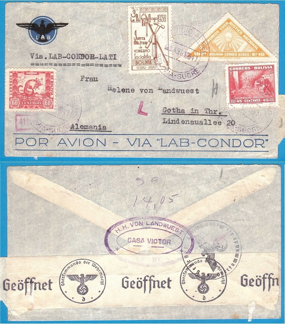 BOLIVIA air censored cover 1941 Sucre by LATI to Germany BOL029