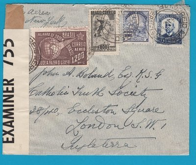 BRAZIL transatlantic air cover 1941 RdJ with censor to England