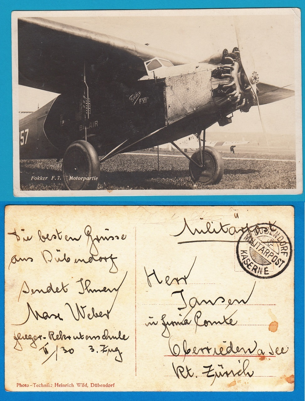 Fokker F7 on military picture post card Switzerland Dusendorf Kaserne AI098