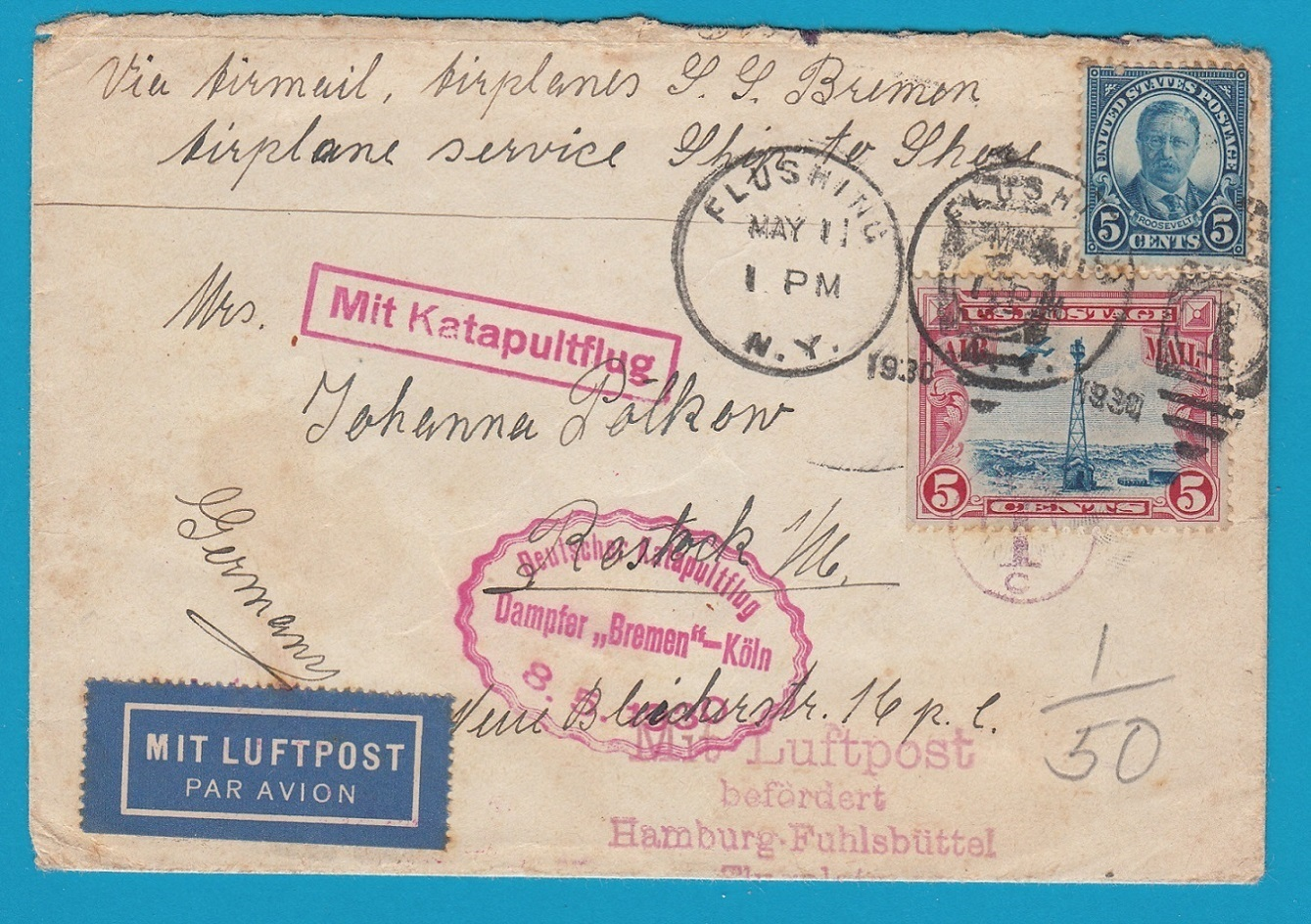 "USA airmail cover 1930 by Catapult  ""Bremen"" to Germany AI097"