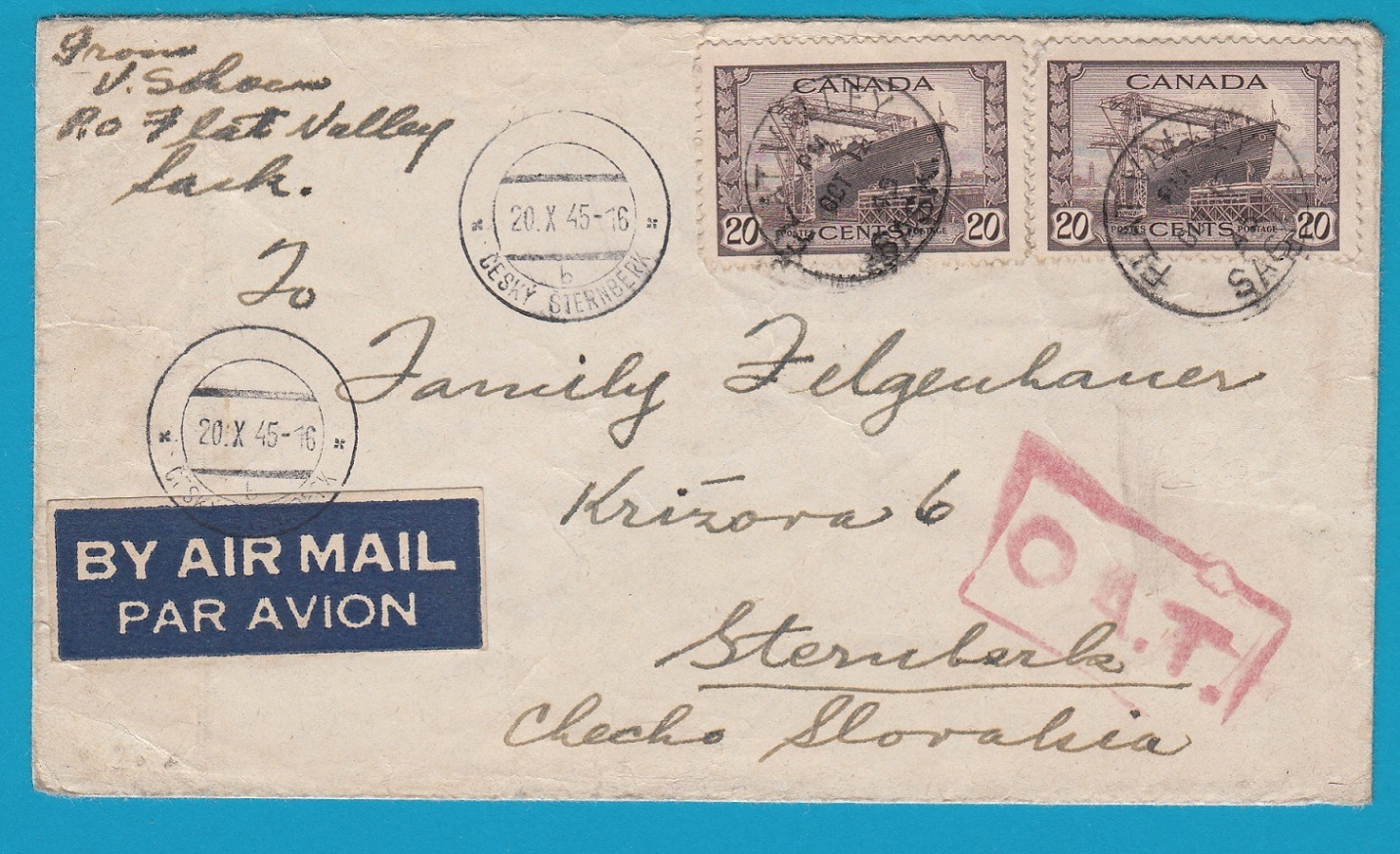 CANADA airmail cover 1945 Flat Valley with OAT cachet to Czechoslovakia AI094