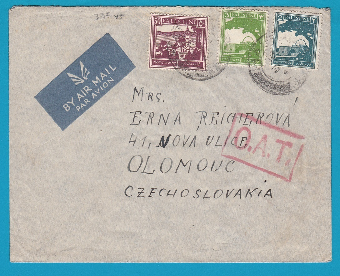 PALESTINE airmail cover 1945 with OAT to Czechoslovakia AI093
