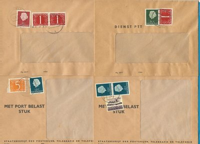 NETHERLANDS 4 PTT envelopes for postage due 1969-71 with postage stamps Ermelo