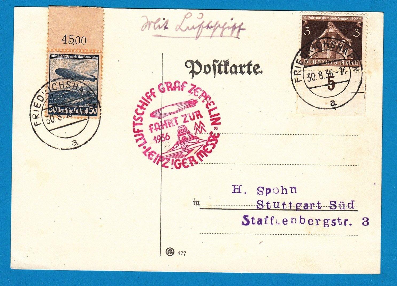 GERMANY Zeppelin card 1936 Leipziger Messe 1936 Friederichtshafen
