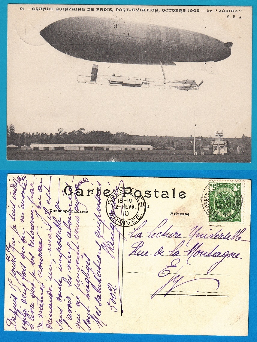 BELGIUM zeppelin card 1910 Etterbeek to Brussels AI091