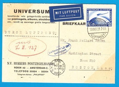 GERMANY card Zeppelin 1928 Friederichshafen to USA