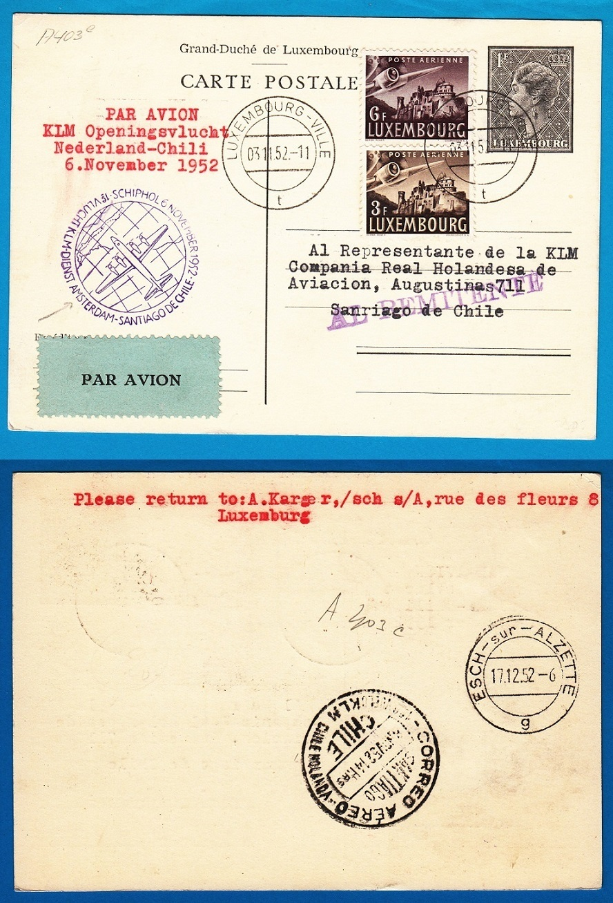 LUXEMBOURG card  by KLM openingsflight to Chile 1952 AI088