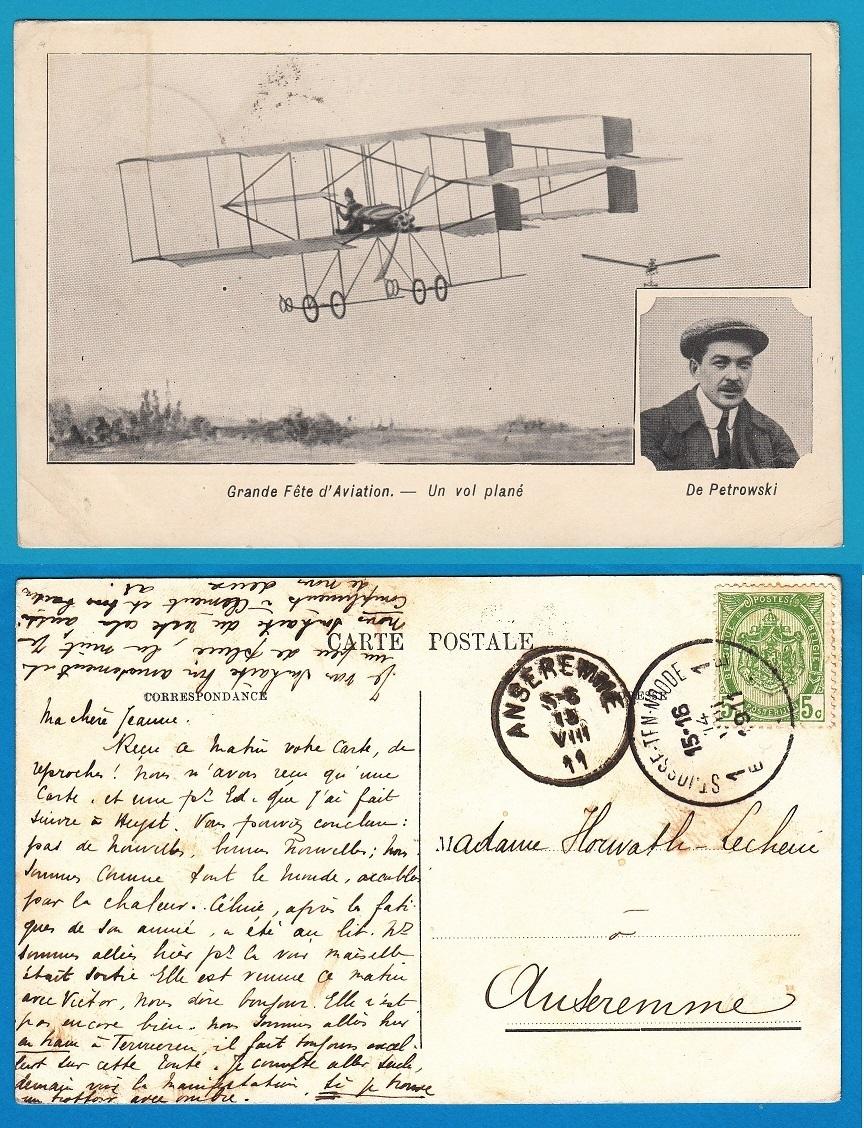 BELGIUM PPC airmail show 1911 De Petrowski AI085