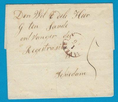 NEDERLAND omslag 1853 Naaldwijk naar Schiedam afgeschreven Delft