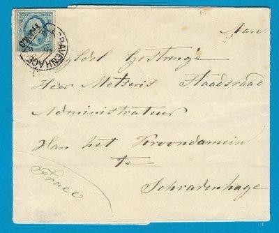 NEDERLAND brief 1860 Naalwijk met #1 naar Den Haag