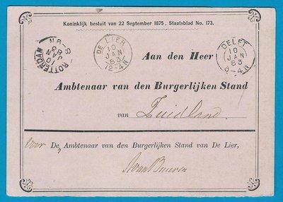 NEDERLAND dienstkaart 1883 De Lier naar Zuidland