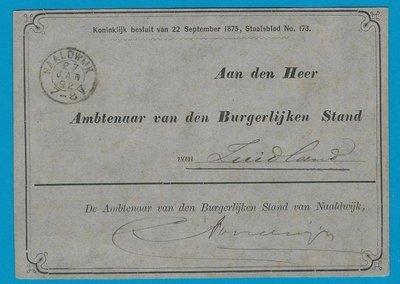 NEDERLAND dienstkaart 1892 Naaldwijk naar Zuidland