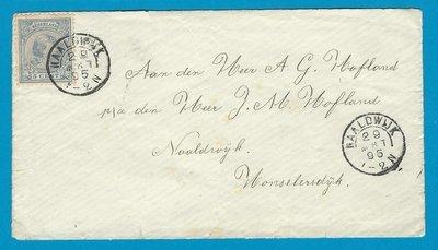 NEDERLAND brief 1895 Naaldwijk naar Honselersdijk