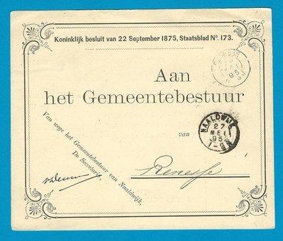 NEDERLAND dienstkaart 1895 Naaldwijk naar Resesse