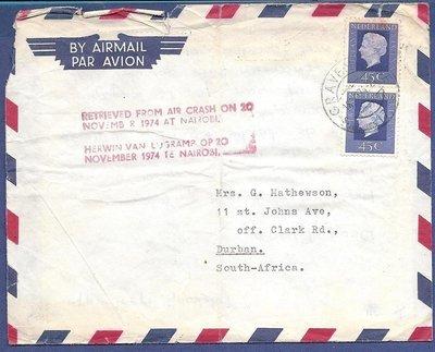 NEDERLAND vlieg rampbrief 1974 Den Haag verongelukt Nairobi