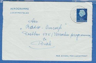 NEDERLAND aerogram 1962 Amsterdam naar Nieuw Guinea