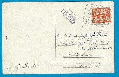 NEDERLAND kaart 1927 met treinstempel Naaldwijk-'s Gravenhage