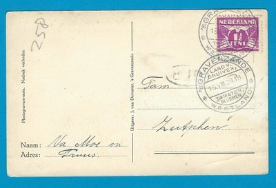 NEDERLAND prentbriefkaart veilinggebouw 1929 's Gravezande reclame