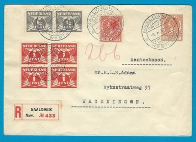 NEDERLAND R envelop 1932 Naaldwijk met reclame stempel