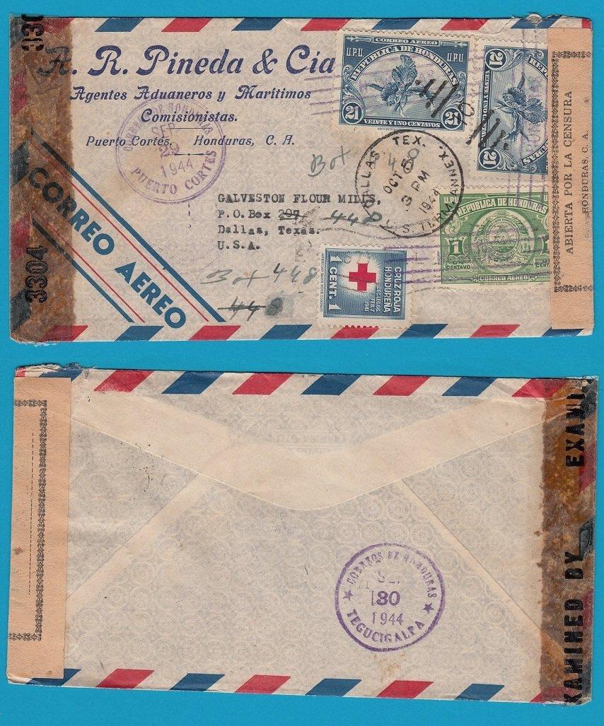 HONDURAS double censored air cover 1944 Puerto Cortes to USA HON020