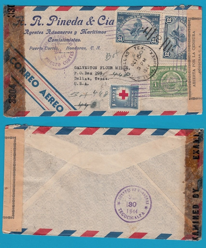 HONDURAS double censored air cover 1944 Puerto Cortes to USA