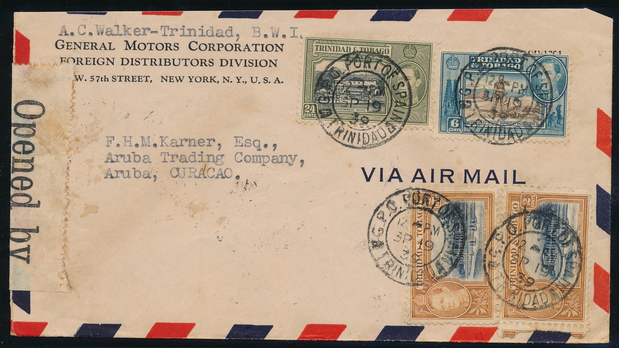 TRINIDAD air censored cover 1939 to Aruba ARU201