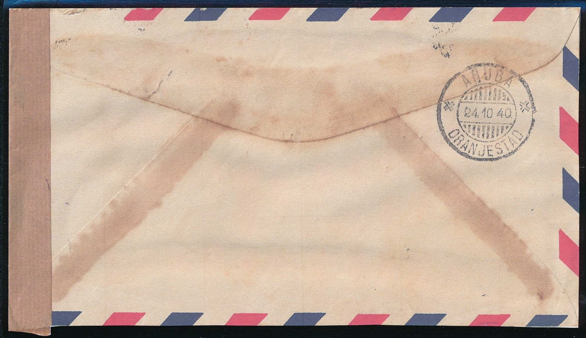 TRINIDAD air censored cover 1940 to Aruba