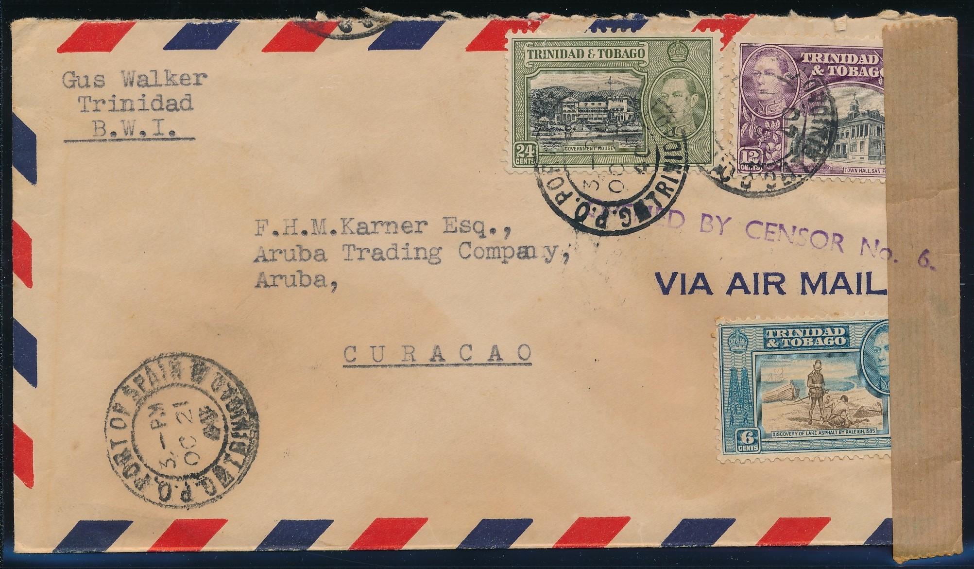 TRINIDAD air censored cover 1940 to Aruba ARU204
