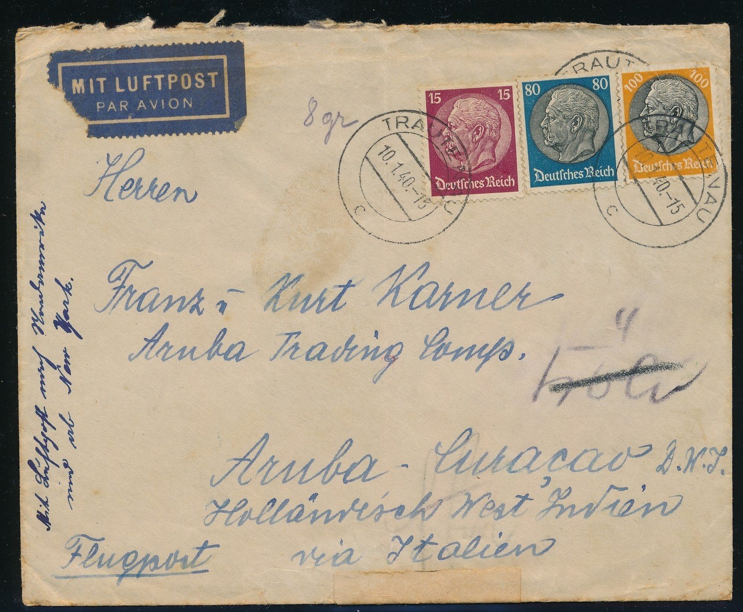 GERMANY air censored cover 1940 Trautenau to Aruba