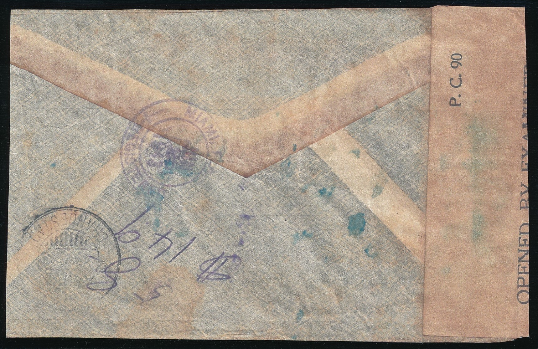 CHINA R censored air cover 1943 Kukong to Aruba