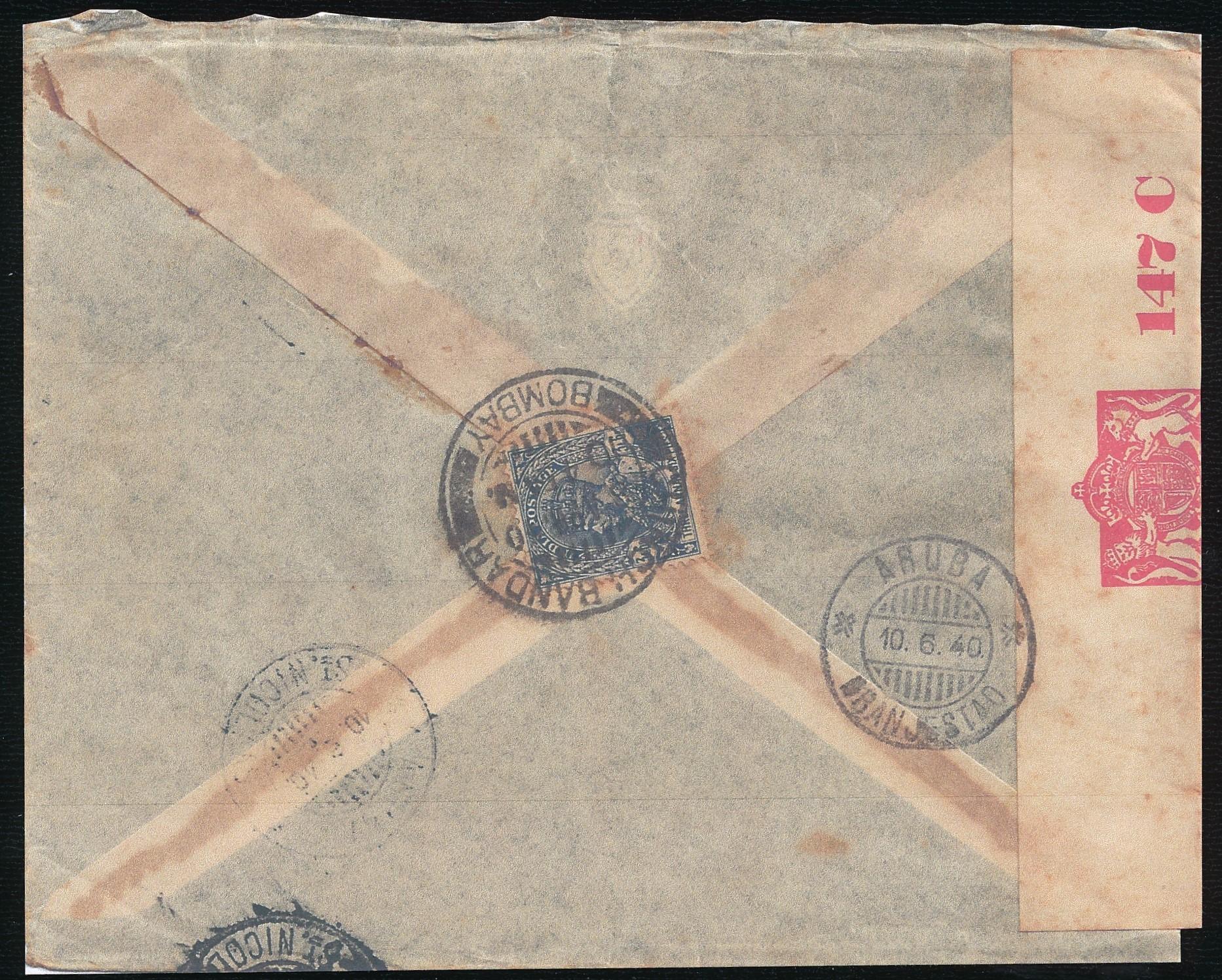INDIA censored air cover 1940 Bombay to Aruba