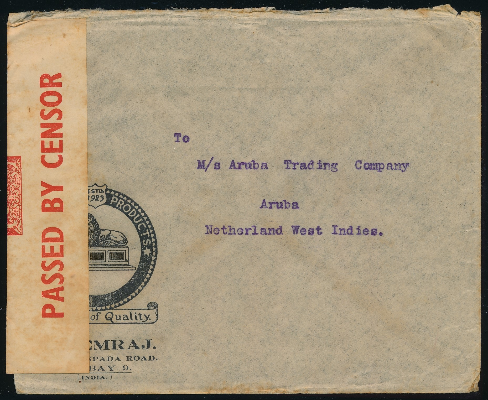 INDIA censored air cover 1940 Bombay to Aruba ARU214
