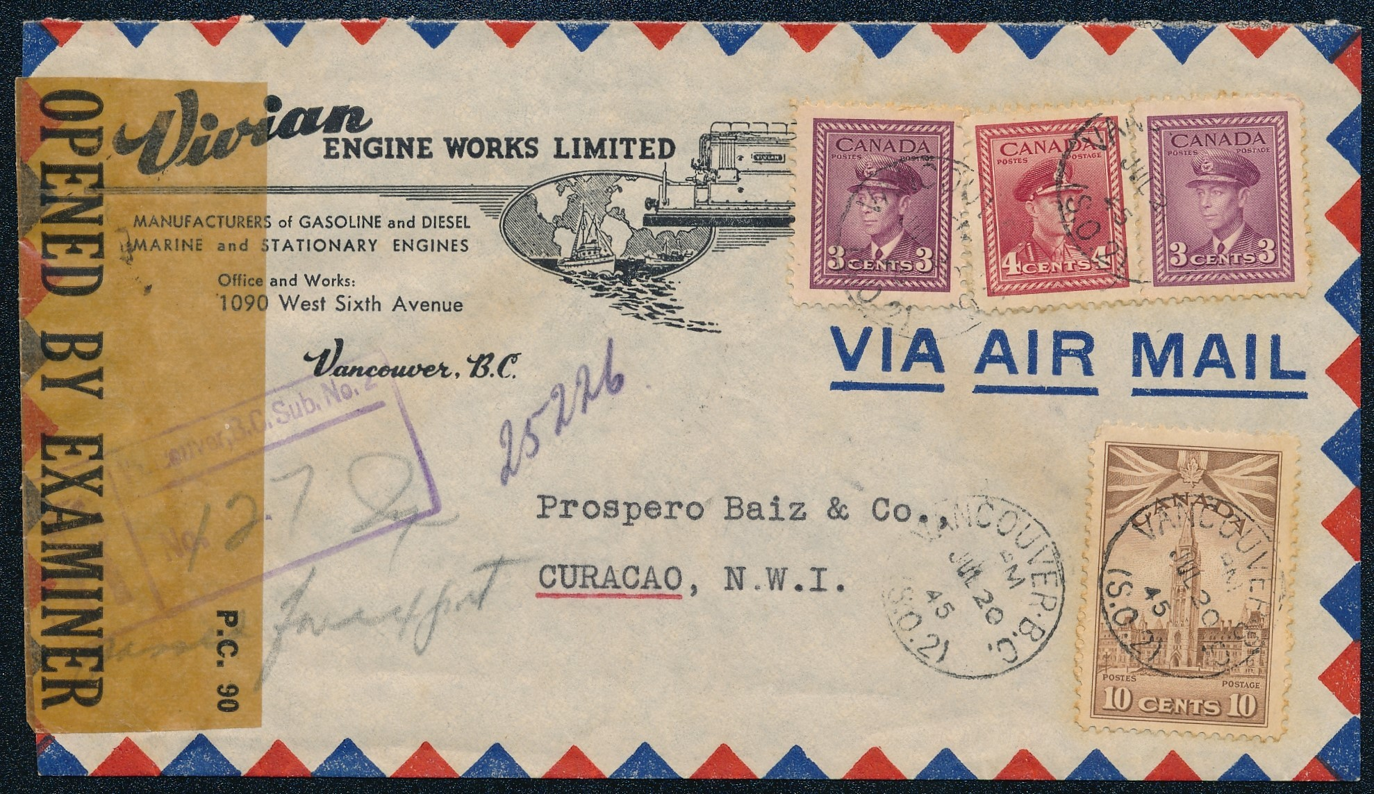 CANADA censored airmail cover 1945 to Curaçao CUR202