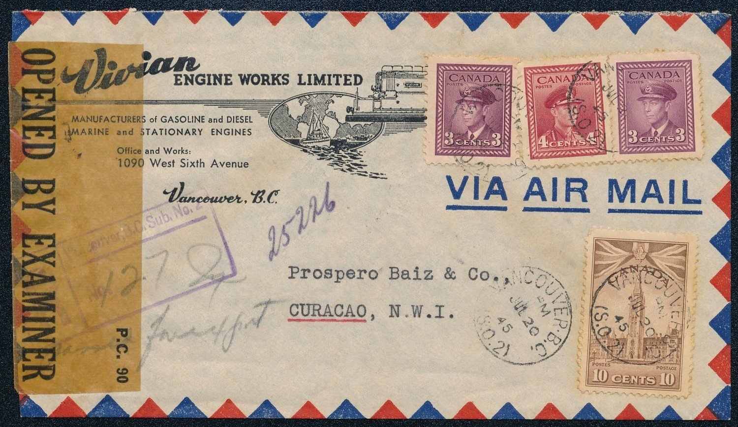CANADA censored airmail cover 1945 to Curaçao