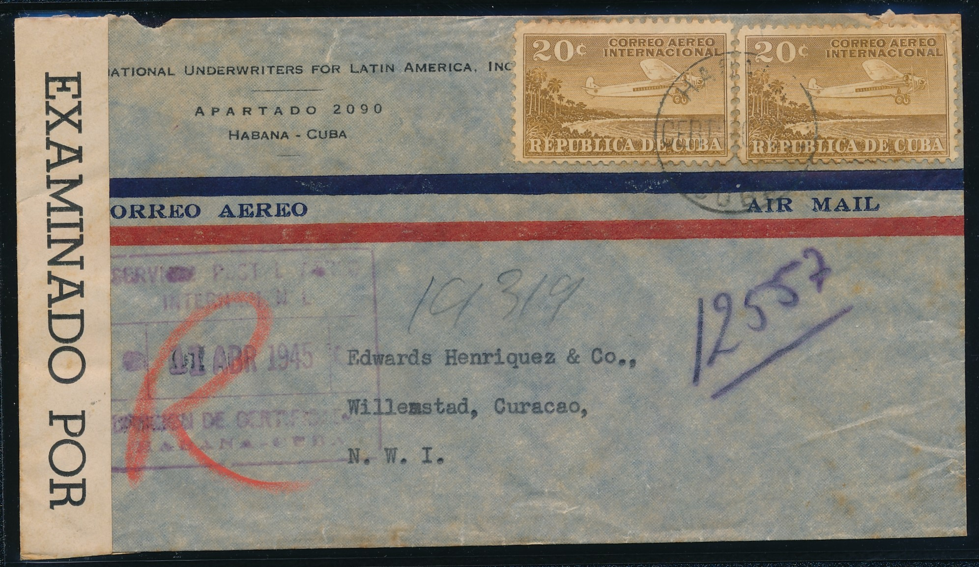CUBA censored R air cover 1945 to Curaçao CUR204