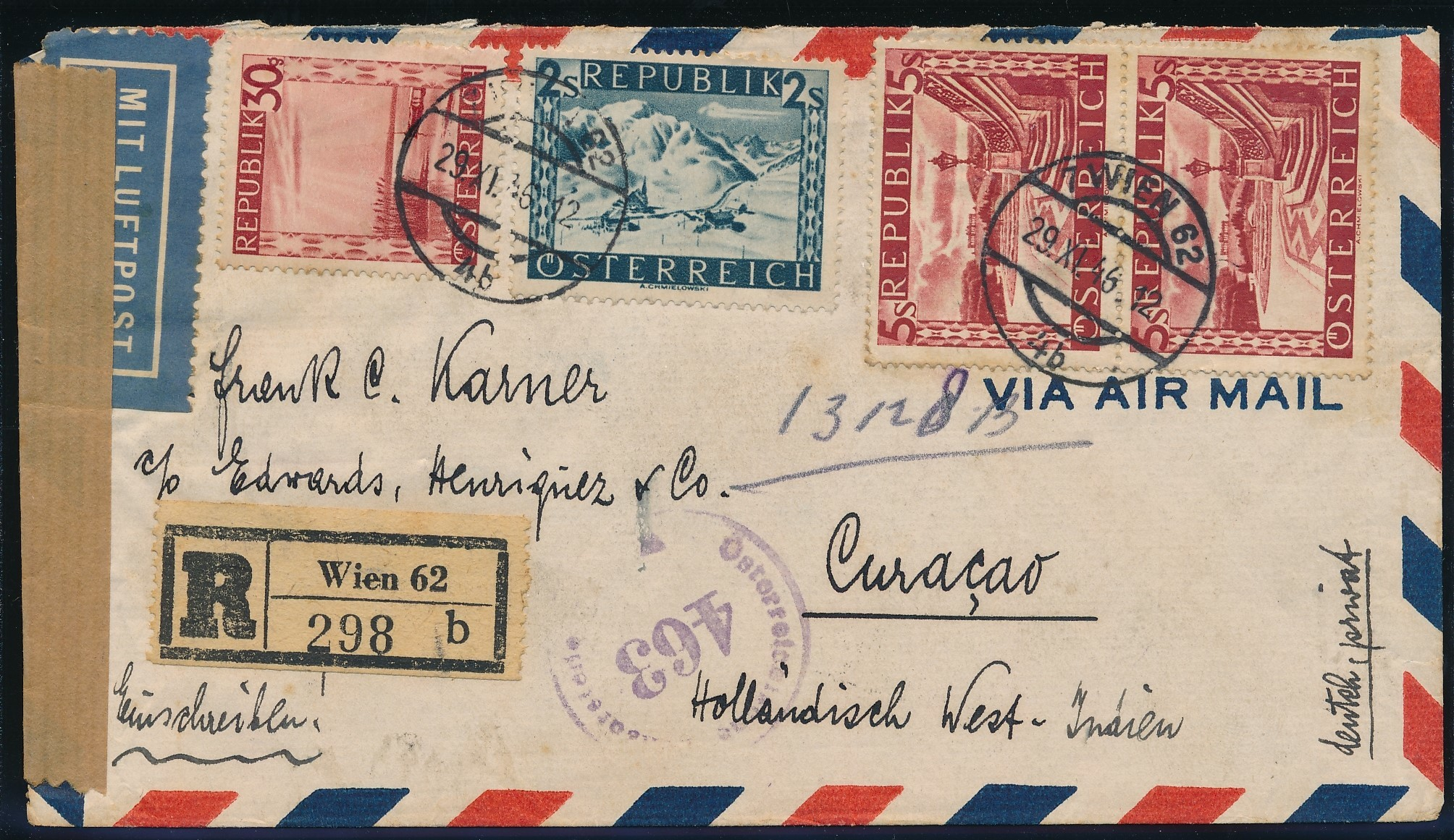 AUSTRIA R air censor cover 1946 to Curaçao CUR216