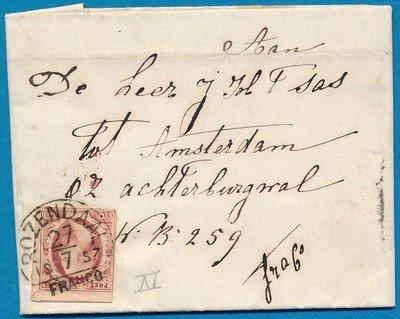 NEDERLAND brief 1857 Rozendaal naar Amsterdam