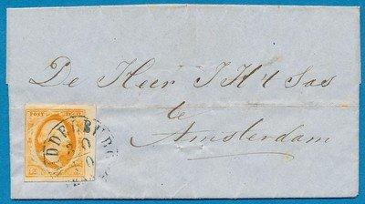 NEDERLAND brief 1852 Middelburg naar Amsterdam