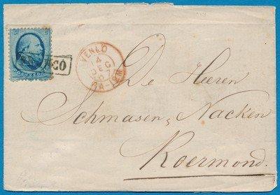 NEDERLAND brief 1867 Venlo naar Roermond