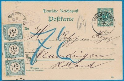DUITSLAND kaart 1890 Frankfurt beport Vlaardingen