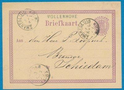 NEDERLAND briefkaart 1877 Vollenhove naar Schiedam