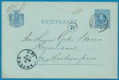 NEDERLAND briefkaart 1882 Horn naar Antwerpen