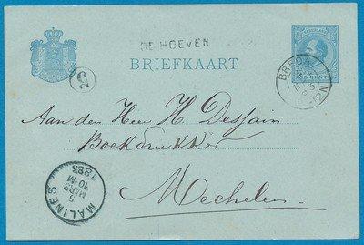 NEDERLAND briefkaart 1883 de Hoeven naar België