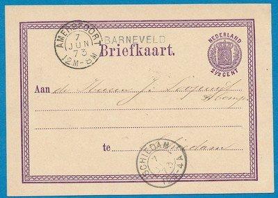 NEDERLAND briefkaart 1873 Barneveld naar Schiedam