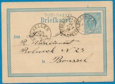 NEDERLAND briefkaart 1878 Oud-Gastel naar België