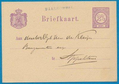 NEDERLAND briefkaart 1878 Maasbommel naar Appeltern