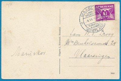 NEDERLAND kaart 1932 Maasdijk reclame stempel