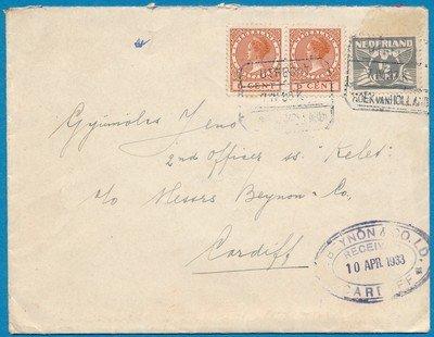 NEDERLAND brief 1933 treinstempel Utrecht-Hoek van Holland