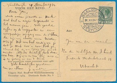 NEDERLAND kaart 1934 Naaldwijk met reclame stempel