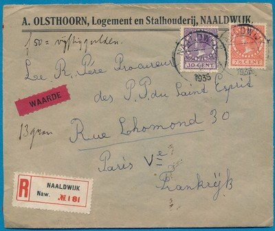 NEDERLAND R waarde brief 1935 Naaldwijk naar Frankrijk